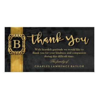 Black & Gold Elegant Monogram Sympathy Thank You Photo Greeting Card