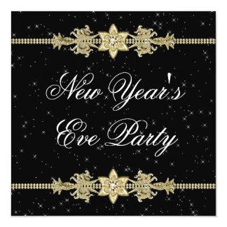 "Black Gold Elegant New Years Eve Party Invitations 5.25"" Square Invitation Card"