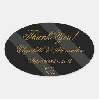 Black Gold Elegant Wedding Thank You Oval Sticker