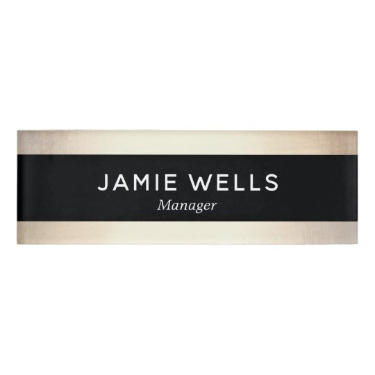 Black Gold Employee Staff Magnetic Name Tag Badge