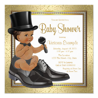 Black Gold Ethnic Little Man Baby Shower 13 Cm X 13 Cm Square Invitation Card