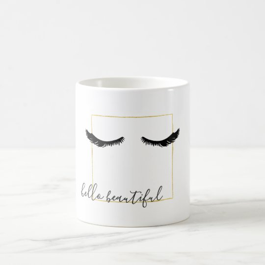 Black Gold Eyelashes Glam Coffee Mug