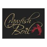 Black Gold Fancy Script Crawfish Boil 13 Cm X 18 Cm Invitation Card