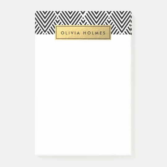Black & Gold Faux Foil Chevron Pattern Post-it