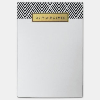 Black & Gold Faux Foil Chevron Pattern Post-it Notes