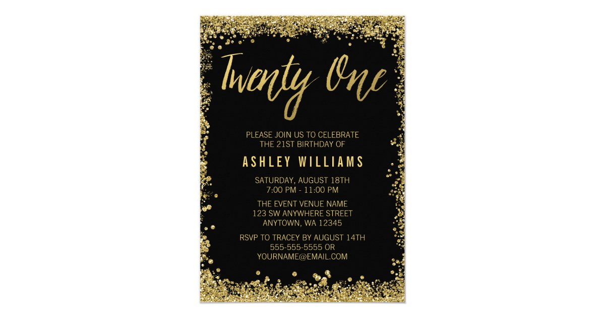Black Gold Faux Glitter 21st Birthday Invitations | Zazzle.co.uk