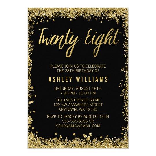 Black Gold Faux Glitter 28th Birthday Invitations