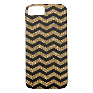 Black Gold Faux Glitter Chevron iPhone 8/7 Case