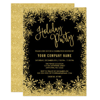 Black Gold Faux Glitter Snowflakes Holiday Party Card
