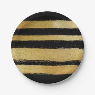 Black gold faux leaf modern brushstrokes stripes paper plate