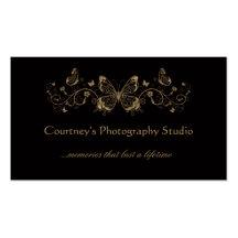 Black Gold Filigree Butterflies Business Cards