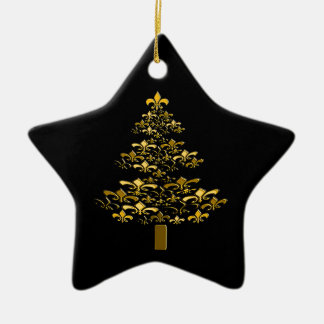 Black Gold Fleur de Lis Christmas Tree Star Christmas Ornament