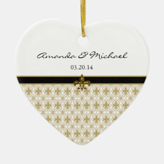 Black Gold Fleur de Lis Pattern Wedding Christmas Ornament