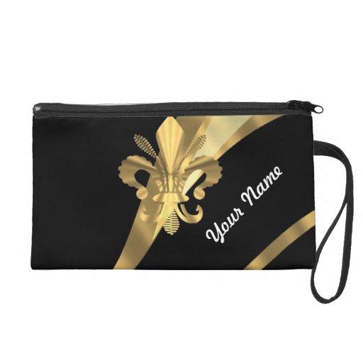 Black & gold fleur de lys wristlet purses