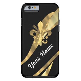 Black & gold fleur de lys tough iPhone 6 case