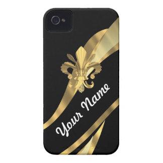 Black & gold fleur de lys Case-Mate iPhone 4 case