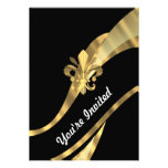 Black & gold fleur de lys custom announcement