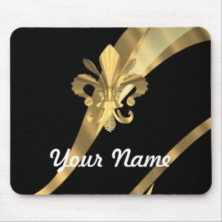 Black & gold fleur de lys mouse mat