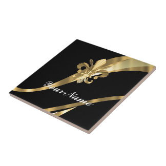 Black & gold fleur de lys small square tile