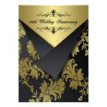 Black, Gold Floral 50th Anniversary Invitation 2