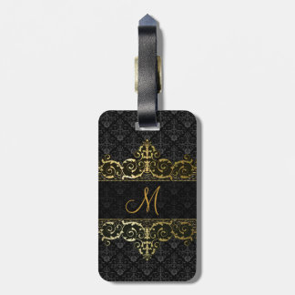 Black & Gold Floral Damask And Frame Monogram Luggage Tag