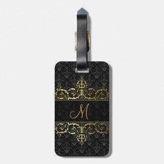 Black & Gold Floral Damask And Frame Monogram Luggage Tag