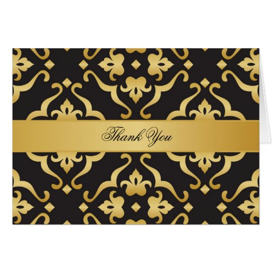 Black & Gold Floral Damask Thank You Card