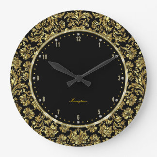 Black & Gold Floral Damasks Monogram Large Clock