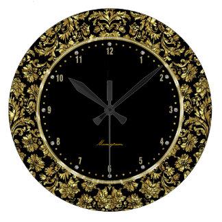 Black & Gold Floral Damasks Monogram Wall Clock