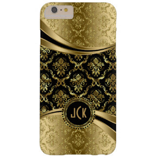 Black & Gold Floral Damasks & Stripes Barely There iPhone 6 Plus Case
