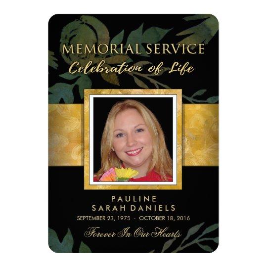 Black Gold Floral Elegant Memorial Service Invite