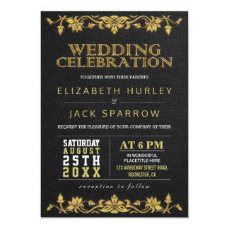 Black & Gold Floral Embroidery Wedding Invitations