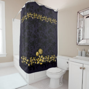 Black Gold Floral Toile On Deep Purple Shower Curtain