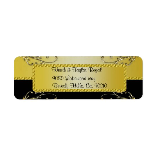 Black & Gold Flowering Vines Monogram Wedding Return Address Label