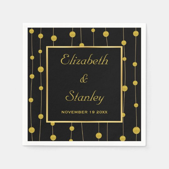 Black, gold foil beads and frame modern wedding