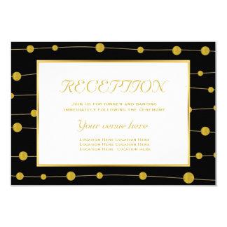 Black, gold foil beads modern wedding reception 9 cm x 13 cm invitation card