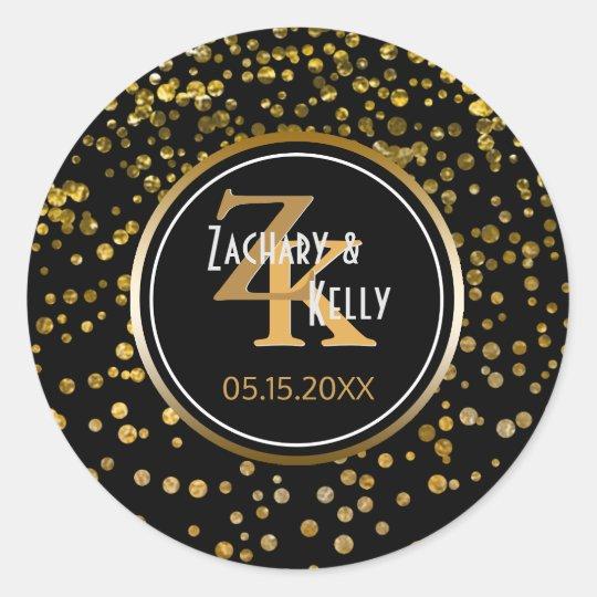 Black Gold Foil Confetti | Monogram Wedding Favour