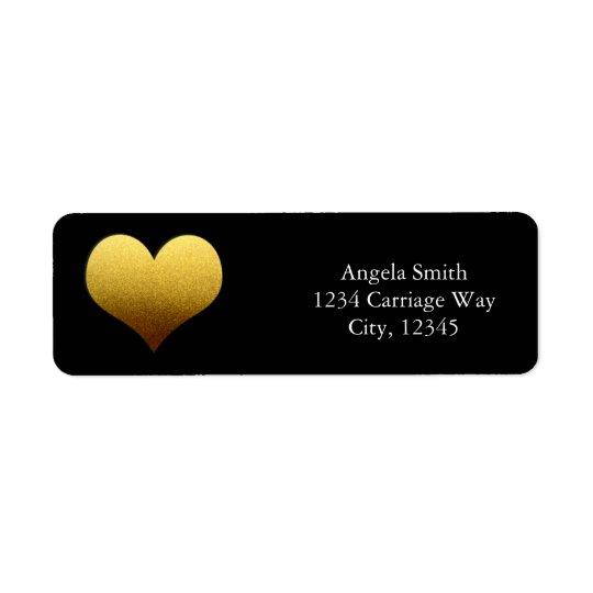Black & Gold Foil Heart Sticker Address Labels