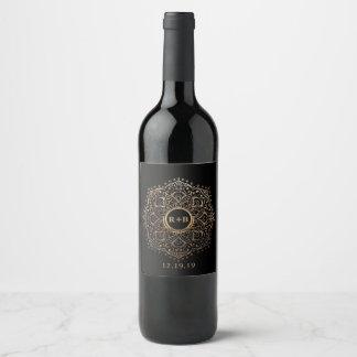 Black Gold Foil Mandala Boho Wedding Favor Wine Label
