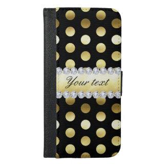 Black Gold Foil Polka Dots Diamonds iPhone 6/6s Plus Wallet Case