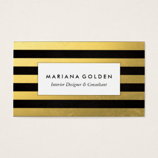 Black Gold Foil Stripe Business Card