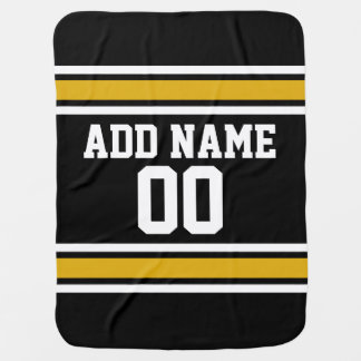 Black Gold Football Jersey Custom Name Number Baby Blanket