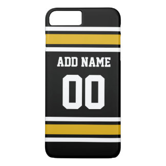 Black Gold Football Jersey Custom Name Number iPhone 8 Plus/7 Plus Case