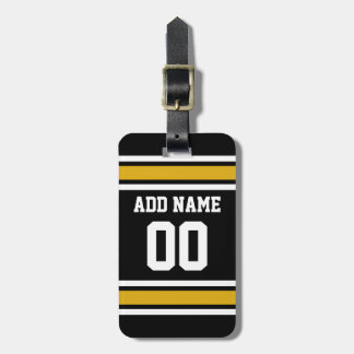Black Gold Football Jersey Custom Name Number Luggage Tags
