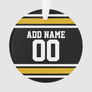 Black Gold Football Jersey Custom Name Number Ornament