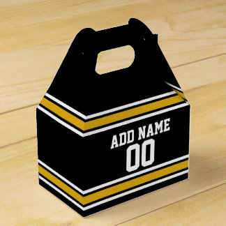 Black Gold Football Jersey Custom Name Number Party Favour Box