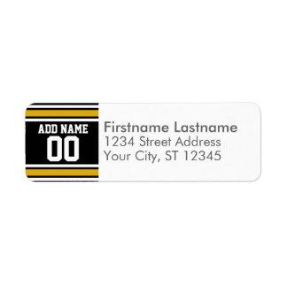 Black Gold Football Jersey Custom Name Number Return Address Label