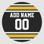 Black Gold Football Jersey Custom Name Number Round Sticker