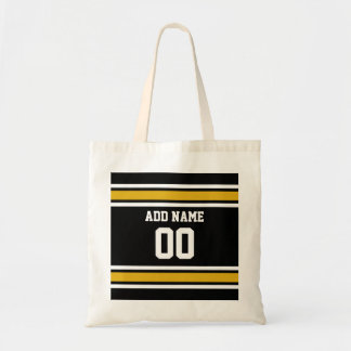 Black Gold Football Jersey Custom Name Number Tote Bag