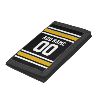 Black Gold Football Jersey Custom Name Number Tri-fold Wallets